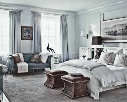 bedroom grey wall theme and grey fabric curtains on the hook added by grey bedding
