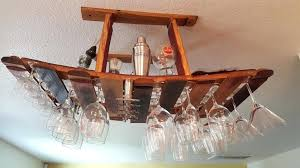 hanging glass rack metal wine enthusiast