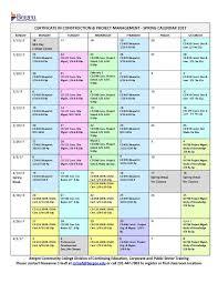 Bergen Community College Course Calendar Certificate In