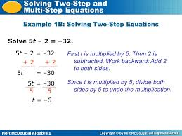 holt mcdougal algebra 1 solving two step and multi step equations solve 5t