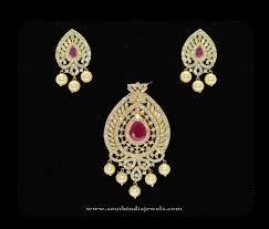 gold plated cz stone pendant set