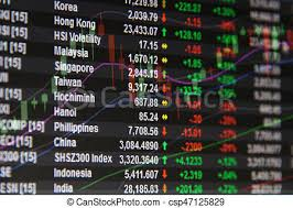 Asia Pacific Stock Market Data And Candle Stick Graph Chart On Monitor