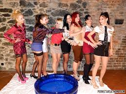 Fully clothed pornstars enjoy a wild and wet lesbian play at the.