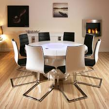 sentinel large round white gloss dining table 8 white black dining chairs