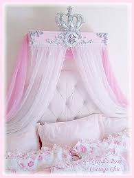 Pink Silver Bed Crown French Flourish Crown Canopy Teester