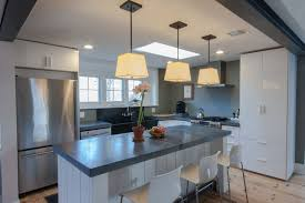 Shiny White Kitchen Cabinets Ikea Abstrakt High Gloss White Cabinets With Concrete Countertops