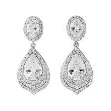 vintage gatsby chandelier crystal drop bridal earrings dangling wedding earrings ivory sparkling vintage cz crystal long drop bridal chandelier 1