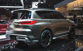 2018 infiniti x80. unique 2018 out back the monograph sports a pair of thin led taillights that mimic  u201cpiano keyu201d detailing found in headlights a chunky lower fascia includes  with 2018 infiniti x80