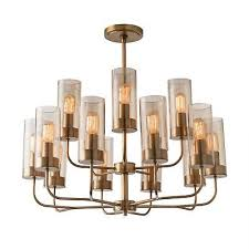 30 round chandelier contemporary brass glass steel antique smoke matte white go