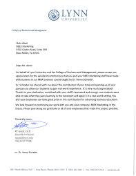 lynn university extends thanks to bbex marketing lynn university letter to bbex marketing