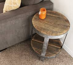 reclaimed wood round side table end table nightstand