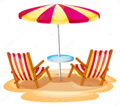 a stripe beach umbrella and the two wooden chairs stock vector