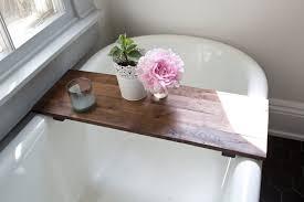 cool rustic wood bathtub tray walnut bath tub caddy wooden reading rack bathroom with post