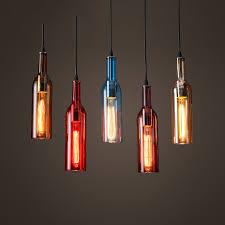 Decorative Wine Bottles With Lights Colored beer bottles LED Bottle pendant lights restaurants bars 51