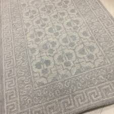 details about pottery barn braylin rug gray 3x5 tile wool braelyn greek key authentic new