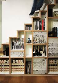 rustic style living room clever: modern rustic home decoration ideas with clever storages ideas by open shelving under stairs on lacquered