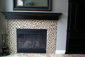 fireplace mantel over tile fireplace