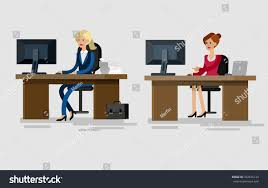 corporate office desk. Vector Detailed Character Corporate Office Worker, Business Team People Sitting Behind Desk M