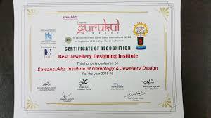 gurukul awards by lion s club kolkata for best jewellery designing insute