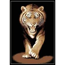 out of africa 90 growling tiger floor rug