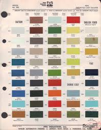 Ford England Paint Chart Color Reference