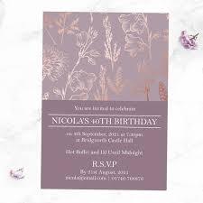 40th Birthday Invitations 40th Birthday Invitations Elegant Floral Pattern