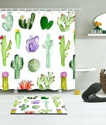 tropical watercolor cactus polyester fabric shower curtain bathroom mat hooks print cur tropical plants shower curtain