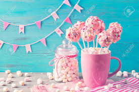 Pink Cake Pops In A Teacup Stock Photo Picture And Royalty Free