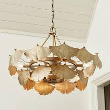 aberdeen 9 light gold leaf fan chandelier
