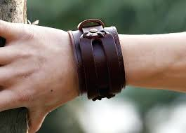 boys leather bracelet latest design genuine cowhide buckle punk cuff wide wristband men mens bracelets uk