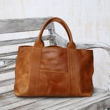 ginger colored structured leather handbag from bali divine lady