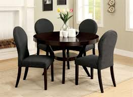 elegant dining room design with round deep espresso open shelf dining table set 4 dark grey padded chairs and white wooden window glass frame