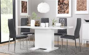 osaka white high gloss extending dining table with 4 renzo grey chairs chrome legs
