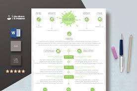 Designer Resume Template Resume Cv Template For Word One Page Resume Cover Letter Modern Resume Professional Resume