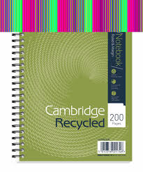 cambridge recycled nbk wirebound 70gsm ruled margin perf punched 2 holes 200pp a5 ref 100080106 pack 3