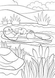 Kleurplaten Moeder Otter Zwemt Met Haar Baby Stockvector Ya