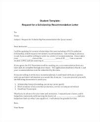 Scholarship Recommendation Letter Sample Student Scholarship Recommendation Letter Of Template For