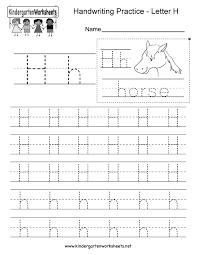letter h writing practice worksheet printable