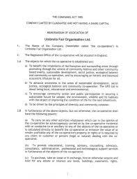 Umbrella Fair Organisation - Memorandum