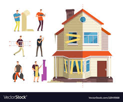 New Home Cartoon Images Old And New Home Renovation Of House With