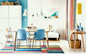 living room furniture ikea. Colourful Open Plan Dining And Sitting Room With Light Wood Table Blue Chairs Furniture Ideas Ikea Living C