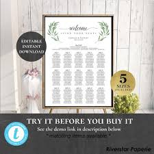 Etsy Table Seating Chart Table Seating Chart Poster Sign Editable Printable Wedding Find Your Seat Reception Seating Plan Name Board Eucalyptus Garden Laurels Pceuws