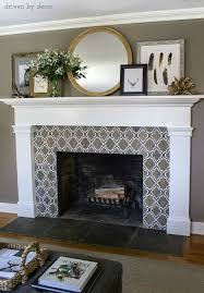 fireplace with fabulous neutral geometric tile simple mantle design round mirror layered art