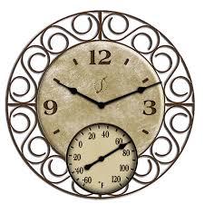 garden treasures indoor outdoor oil rubbed bronze thermometer with clock