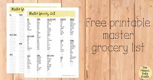 Typical Grocery List Printable Master Grocery List