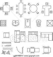 floor plan symbols. EPS Vector - Furniture Linear Symbols. Floor Plan Icons Set. Interior And Toilet, Washbasin Bath, Table Chair Illustration. Symbols N