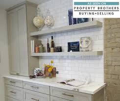 gray kitchen cabinets in leeton maple egret with floating shelves