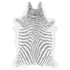 alyssa faux zebra cowhide grey 5 ft x 6 ft 7 in
