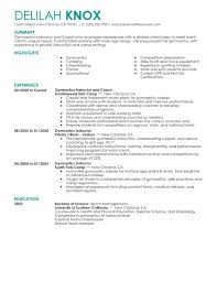 Gymnastics Instructor Resume Sample
