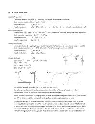 rc rl circuit cheat sheet resistor properties cylindrical resistor